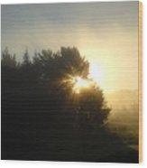 August Fog Sunrise Light Rays Wood Print
