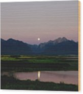 August Moon Over Mission Mountains And Ninepipes Refuge  Wood Print