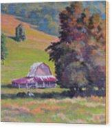 August Pastures Wood Print