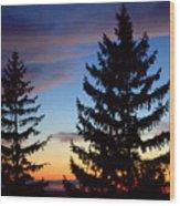 August Pine Clouds Wood Print