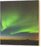Aurora Above Keflavik In Iceland. Wood Print