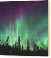 Aurora Boreale In Lapponia Wood Print