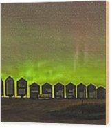 Aurora Borealis Behind Grain Bins Wood Print