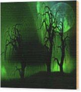 Aurora Borealis Lights - Painting Wood Print