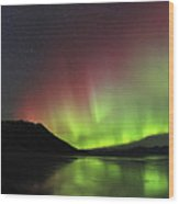 Aurora Borealis Milky Way And Big Wood Print
