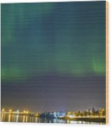 Aurora Borealis Northern Lights Over City Of Tallinn Wood Print