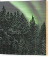 Aurora Borealis Over Finland Wood Print