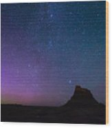 Aurora Borealis Over Lindisfarne Castle Wood Print
