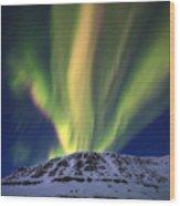Aurora Borealis Over Toviktinden Wood Print