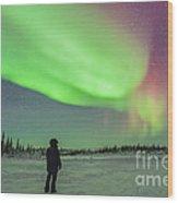 Aurora Borealis With Vega And Arcturus Wood Print