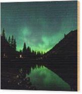 Aurora On Moraine Lake Wood Print