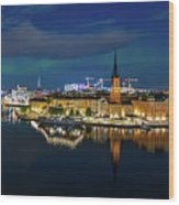 Aurora Over Stockholm In The Fall 2018 Wood Print