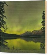 Aurora Over The Forest Wood Print