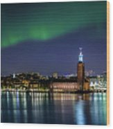Aurora Over The Stockholm City Hall And Kungsholmen Wood Print