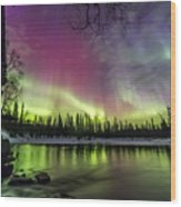 Auroras At The Mill Wood Print