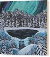 Aurora's Fiery Display Wood Print