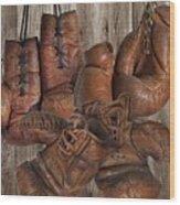 Boxing Gloves Wood Print