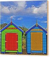 Aussie Beach Boxes Wood Print