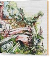 Austin A40 Van Rusting Away In The Garden Wood Print