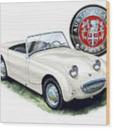 Austin Healey Bug Eye White Wood Print by David Kyte