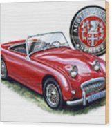 Austin Healey Bugeye Sprite Red Wood Print by David Kyte