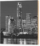 Austin Skyline At Night Black And White Bw Panorama Texas Wood Print