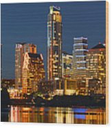 Austin Skyline At Night Color Panorama Texas Wood Print by Jon Holiday