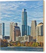 Austin Skyline Panorama Wood Print