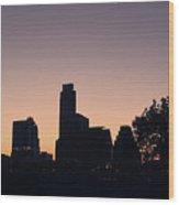 Austin Skyline Sunrise Into A Crescent Moon Panorma Wood Print