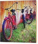 Austin Texas Bikes  -- Original Painting Wood Print