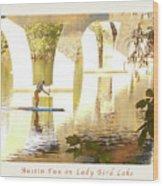 Austin Texas - Lady Bird Lake - Mid November Three - Greeting Card Wood Print by Felipe Adan Lerma
