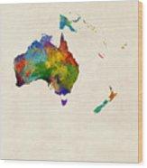 Australia Continent Watercolor Map Wood Print