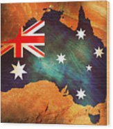 Australian Flag On Rock Wood Print