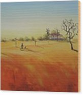 Australian Outback Painting The Way Home  Wood Print