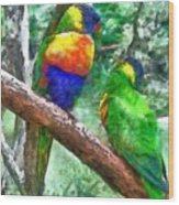 Australian Parakeets Wood Print