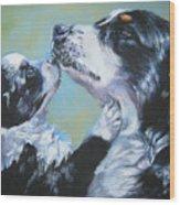 Australian Shepherd Mom And Pup Wood Print