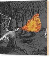 Australopithecus And The Dragon Wood Print