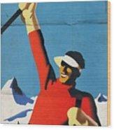 Austria Ski Tourism - Vintage Poster Folded Wood Print