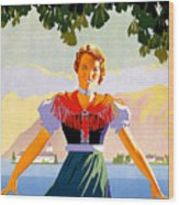 Austria, Young Woman In Traditional Dress Invites You, Danube River Wood Print