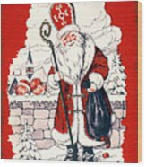 Austrian Christmas Card Wood Print