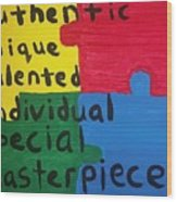 Autism Art Wood Print