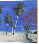 Auto Sulla Spiaggia Wood Print