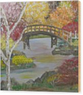 Autum Bridge Wood Print