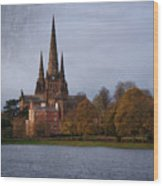 Autumn Lichfield Cathedral Wood Print