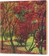 Autum Red Woodlands Painting Wood Print