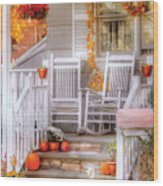 Autumn - House - My Aunts Porch Wood Print by Mike Savad