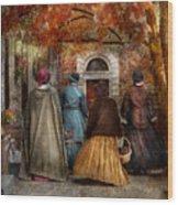 Autumn - People - A Walk Downtown  Wood Print
