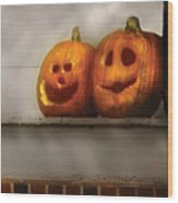 Autumn - Pumpkins - Two Goofy Pumpkins Wood Print