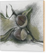 Autumn Acorns On An Oak Twig Wood Print