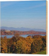 Autumn And The Hudson River Wood Print